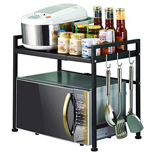 CDXZRZYH Estante retráctil doble soporte de piso de cocina estante de almacenamiento 53 * 37 * 42cm negro (Size : 53cm)