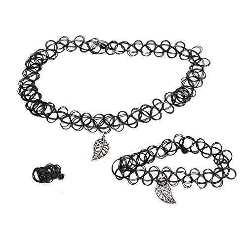 JUSTFOX - 3er Set Halsband Armband Ring Blatt