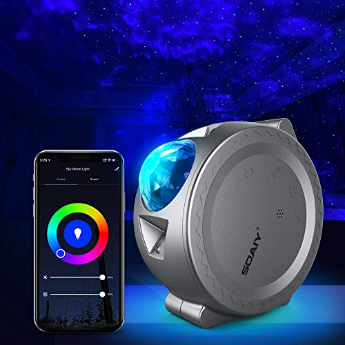 Star Projector, Galaxy Projector Night Light Working with Smart App and Alexa, 6 Color Lighting, 3 in 1 Ocean Wave Star Light Projector for Bedroom LED Nebula Cloud & Moon for Baby, Kids, Adults,P...