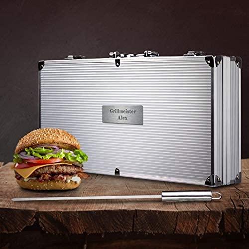 Smyla Personalisierter Grillkoffer mit Gravur | Premium Grillbesteck aus Edelstahl mit Wunsch-Namen | professionelles Grill-Zubehör als Geschenk für Männer - Silber, 15-Teilig