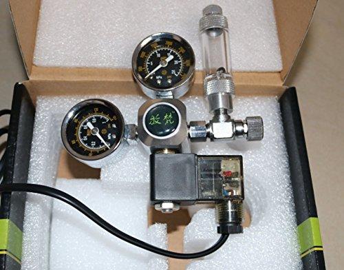 Acuario Co2 descompresión cuadro carbono electromagnética válvula de gran precisión micrometering, indicadores de doble regulador de CO2 (6,5)