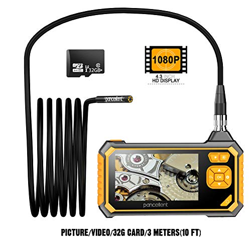 Endoscopio Industrial Digital 1920X1080P, videoscopio de boroscopio pancelente con cámara de inspección Impermeable IP67, Pantalla LCD a Color de 4.3 Pulgadas, Tarjeta de Memoria 32G, 10FT (3 Metros)
