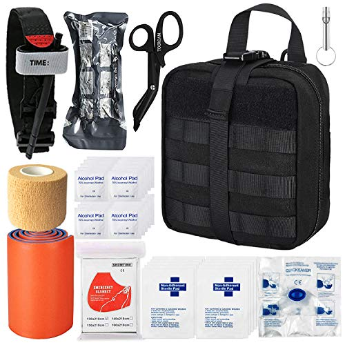 TOUROAM Tactical Emergency First Aid Medical Kit-MOLLE Admin Pouch IFAK-Wound Dressing Blood Control EMT Survival Trauma Kit-Camp Travel Car Medic Kit (39 Pieces Black)