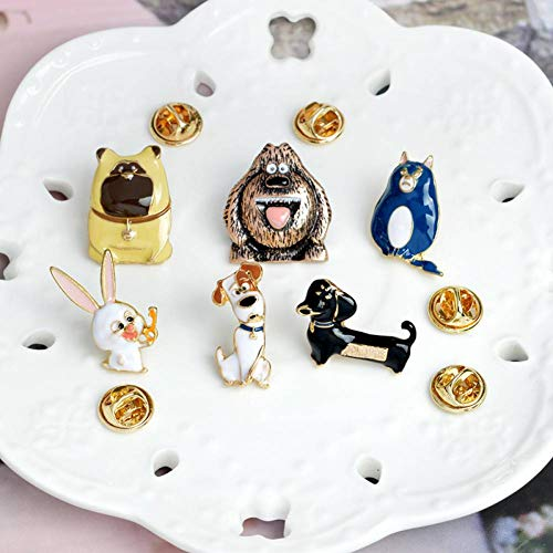 PCBDFQ Broche élégante 6pcs / Set La Vie Secrète des Animaux De Compagnie Chiot Chien Lapin Cils Animal Broche Broche Bouton Broches Denim Veste Pin Badge Cartoon Bijoux