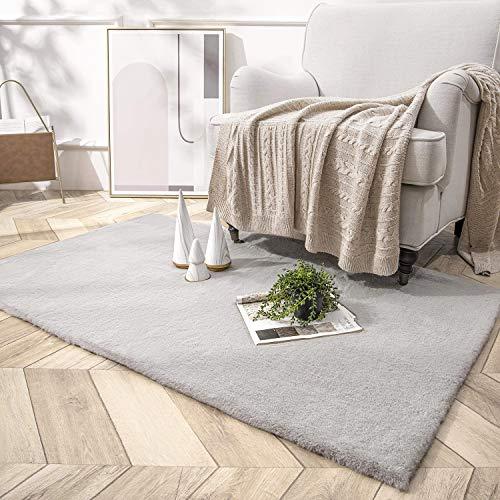 HETOOSHI Alfombra De Piel De Conejo Artificial,Antideslizante Lujosa Suave alfombras mullidas de Interior,Linda Alfombra de Dormitorio Adecuado para salón Dormitorio baño sofá (Gris, 80 x 120 cm)