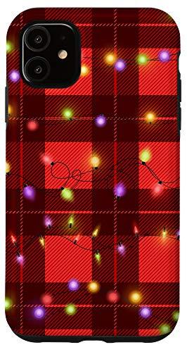 iPhone 11 Christmas Plaid Xmas Lights on Red & Black Buffalo Plaid Case