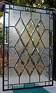 Stained Glass Window Antique Beveled 20 X 30 Panel diamonds privacy