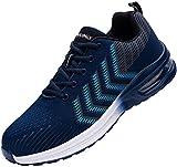 Fenlern Zapatillas de Seguridad Hombre Ligeras Colchón de Aire Zapatos de Seguridad Trabajo Punta de Acero Calzado de Seguridad (Azul Clásico,42 EU)