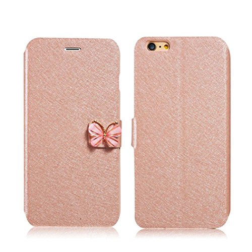 For iPhone SE Case,GBSELL Luxury Butterfly Flip Leather Slim Wallet Card Magnetic Case Cover (Gold)