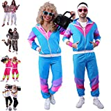 80s / 90s Shell Suit Party Dress Costume/Retro Tracksuit / 90s Hip Hop Costumes / 80s Costumes for Men/Windbreaker and Pants, Blue, Medium