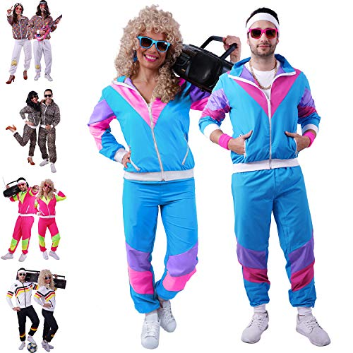 80s / 90s Shell Suit Party Dress Costume/Retro Tracksuit/Hip Hop Costumes/Windbreaker & Pants (S, Blue)