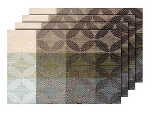 Lot de 4 Sets de Table (TS-127) Design Moderne pour décoration Sympa de qualité supérieure en PVC tressé: 45 x 30 cm. Le Set de Table a Un bel Aspect avec sa matière tissée et Brillante Élégante