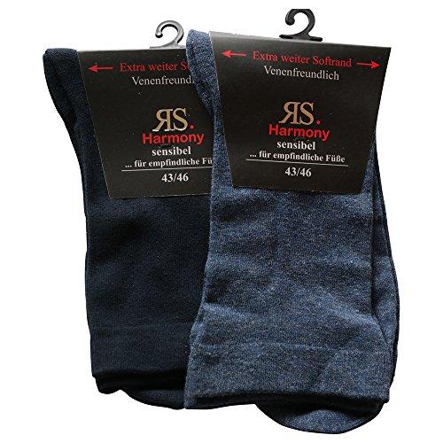 RS 4 Paar Ges&heitsstümpfe Venenfre&lich Extrem weiter Softrand Baumwolle (39-42, Marine-Blau+Jeans-blau)