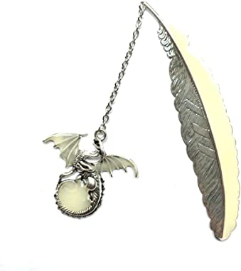 NineSoil Luminous Bookmarks for Women,3D Feather Metal Book Marks with Gift Box Glow in The Dark Bookmarks Gifts for Women Re
