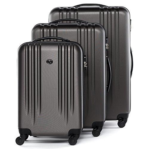 FERGÉ Kofferset Hartschale 3-teilig Marseille Trolley-Set mit Handgepäck 55 cm 3er Set Hartschalenkoffer Roll-Koffer 4 Rollen grau