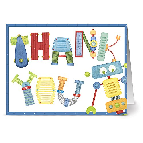 Note Card Cafe Thank You Cards with Red Envelopes   24 Pack   Bots and Bolts Thank You   Blank Inside, Glossy Finish   for Kids, Babies, Greeting Cards, Occasions, Birthdays, Gifts
