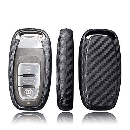 LINGZIA Cubiertas de Llave de protección automática para automóvil, para Audi A6L A4L Q5 A3 A4 B6 B7 B8 Concha de Grano de Fibra de Carbono Inteligente, 1 Pieza