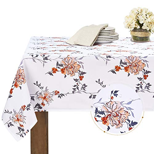 Elloevn Abwaschbare Polyester Weiße Tischdecke, Wasserabweisende Blumen Muster Tischdecken, Elegante Tisch Deko Rechteckige Tischdecke für Ostern, Frühling und Herbst, 130x220 cm