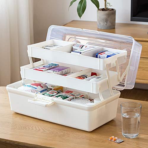 N / A PlasticMedical Box Aufbewahrungsbox Erste-Hilfe-Kit Organizer Multifunktionale tragbare Medizinschrank-Familie Notfall-Kit-Box 37 * 10,8 * 16,2 cm