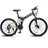 GPAN Vélo VTT Pliable Vélo de Montagne pour Adulte 26 Pouces,24 Vitesses,Double Freins A Disque,Full Suspension, Hors Route vélo Hommes et Femmes,Green