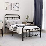 Metal Bed Frame Twin Size with Headboard and Footboard Platform Mattress Base, Sturdy Heavy Duty Steel Slat Support, No Box Spring Needed,Black