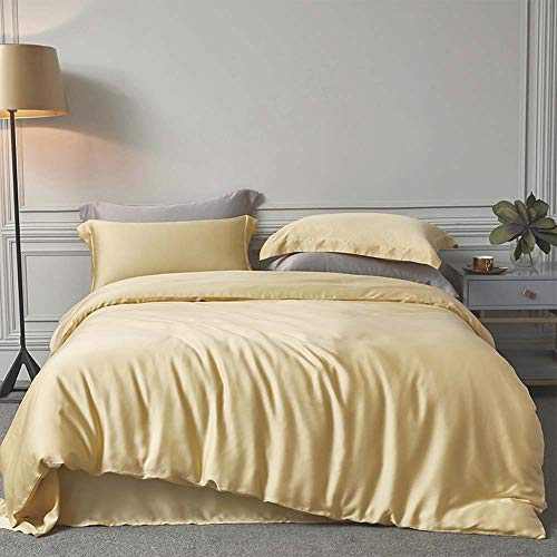 Treer Duvet Cover Set Bedding Set 3 Pieces, Satin Silk Single Double King Size Solid Color Elegant Soft Duvet Set with Zipper Closure Quilt Case and 2 Pillowcases (Yellow,200x200cm)