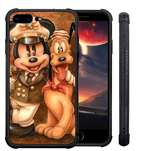 DISNEY COLLECTION iPhone 7/8 Plus Mickey y su perro teléfono caso negro TPU Bumper Anti-golpes Full Body Protective Cover para iPhone 7/8 Plus