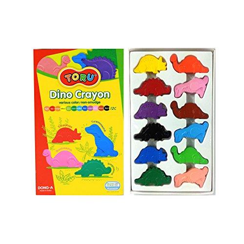 Dong-a Toru Dino Crayon Non-smudge Enjoyable 4 dinosaur-shaped crayons - 12 colors