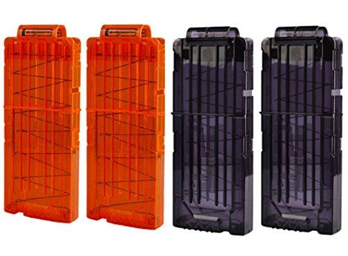 HONGCI Elite Clip Magazin - Darts Pfeile Clip Magazin für Nerf N-Streik Elite Series Spielzeuggewehre, Nerf Modulus Zubehör (2 Schwarz + 2 Orange Clip Magazin für 12 Darts)