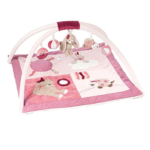 Nattou 987264 Palestrina con tappetino Nina, Jade e Lili, rosa, Rechteckig 80x70 cm