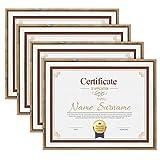 UMI. Essentials - Marcos de Madera rústica para sobremesa o Pared para Fotos y Diplomas de 21,5 x 28cm, marrón (Juego de 4)
