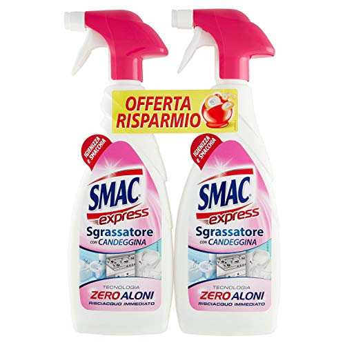 Smac Express - Sgrassatore con Candeggina, Detergente Spray con Azione Sgrassante e Igienizzante, con Tecnologia Zero Aloni, 650 ml x 2 Pezzi
