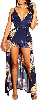Women Sexy Floral Print Deep V-Neck Spaghetti Strap Backless Maxi Romper Dress Jumpsuit Overlay Dress