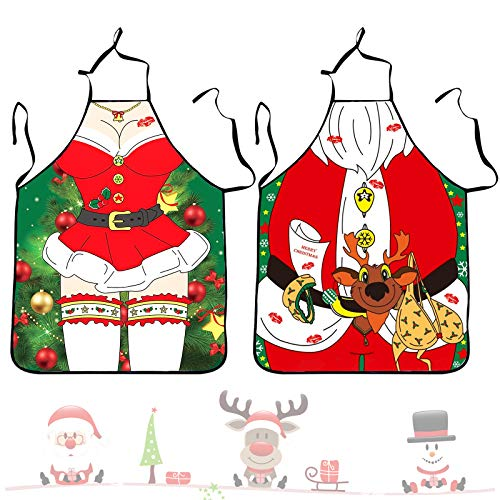 Demason 2 pcs Delantal de Papa Noel para Navidad, Delantal Sexy Señora, Delantal Divertido, Delantal para Mujeres y Hombres, Delantal Cocina, Regalo para Parejas Novia Novio