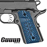 Guuun G10 Grips for 1911 Compact/Officer, Diamond Cut Big Scoop Texture - Blue/Black...