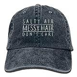 カウボーイハットしょっぱい空気乱雑ヘア気にしないユニセックスデニム調整可能野球帽ヒップホップキャップ