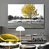 SADHAF pintura de paisaje de árbol amarillo blanco negro sobre lienzo lienzo arte cartel sala de estar decoración del hogar A4 60x80 cm