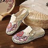 zapatos bordados para mujer Flor bordada Mujer Alpargatas de lona Zapatillas planas Bohemio Retro Damas Cómodas zapatos de verano con punta estrecha zapatillas de bailarina (Color: Blanco, Tamaño: 6