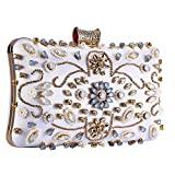 Clocolor Crystal Clutch Evening Bags and Clutches for Women Beaded Rhinestone Purse (Silver)