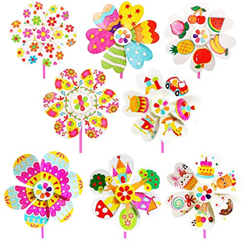 Zuzer Windmühle Kinder, 8pcs Papier Windmühle Windrad DIY Farbige Windmühles Party Windräder für Malen Ausmalen