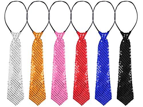 Alsino Paillettenkrawatte bunt Fasching Schlips Karneval Glitzer Paillietten Krawatte, Variante wählen:63/2663 schwarz