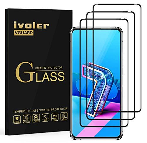 ivoler 3 Unidades Protector de Pantalla para ASUS Zenfone 8 Flip/ASUS Zenfone 7 Pro/ASUS Zenfone 7, [Cobertura Completa] Cristal Vidrio Templado Premium, [Dureza 9H] [Anti-Arañazos] [Sin Burbujas]