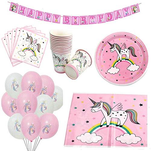 ZCOINS Set Compleanno Unicorno tra Cui Tovaglia, Banner, Piatti di Carta, Tazze, tovaglioli e Palloncini, Collezione Rosa