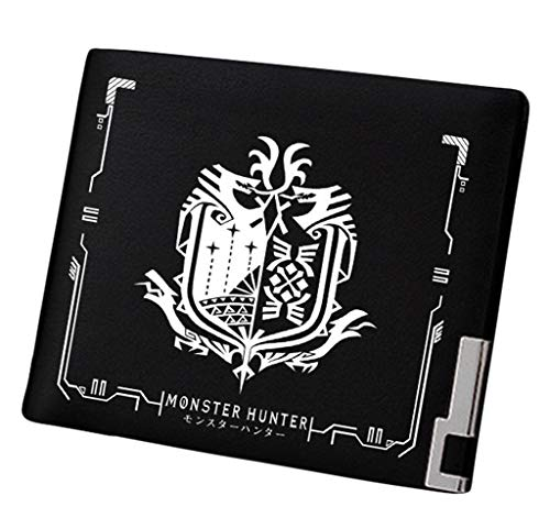 WANHONGYUE Monster Hunter MH Jeu Portefeuille Mince Homme Cuir Synthétique Porte Carte Crédit Poche à Monnaie Noir /7