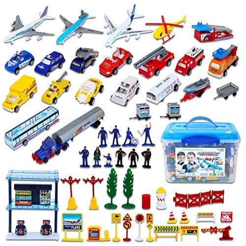 deAO Aeropuerto Internacional Torre de Control Avión de Juguete, Vehículos, Figuras y Accesorios Incluidos Conjunto de 57 Piezas