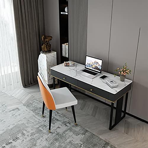 Mesa de Escritorio de Estilo Simple Moderno Estudio de Oficina en casa Cajón de Almacenamiento de Madera Fácil Montaje Marco de Metal Estable Resistente