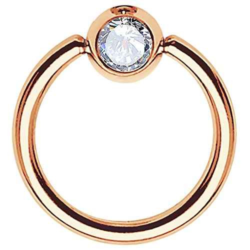 Piersando BCR Piercing Ring Universal Klemmring mit Zirkonia Kristall Klemm Kugel für Septum Brust Tragus Helix Nase Lippe Ohr Intim Nippel Chirurgenstahl Rosegold Clear 1,0mm x 6mm x 3mm