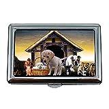 Zigarettenetui Box, Tiere Hunde Welpen Hundehütte Cute Puppy Family, Visitenkartenetui...
