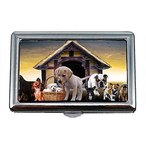 Zigarettenetui Box, Tiere Hunde Welpen Hundehütte Cute Puppy Family, Visitenkartenetui Visitenkartenetui Edelstahl
