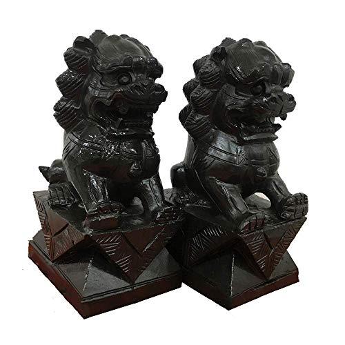 DCLINA Feng Shui Un par Leones Chinos Beijing Par estatuas Perros Fu Foo, decoración Piedra obsidiana Negra para el hogar y la Oficina, atrae Riqueza y Buena Suerte